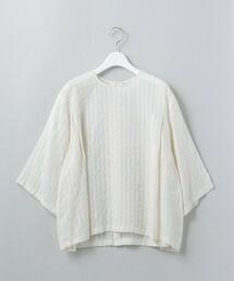 <6(ROKU)>CUPRA COTTON STRIPE TUNIC/束腰上衣 日本製