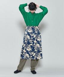 <6(ROKU)>SATIN FLOWER PRINT SKIRT/印花裙 日本製