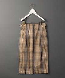 <6(ROKU)>COTTON LINEN CHECK TIGHT SKIRT/長裙