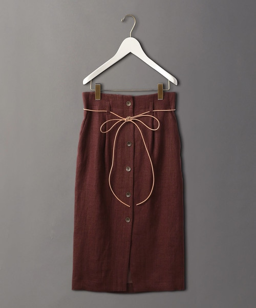<6(ROKU)>LINEN BUTTON SKIRT/中長裙