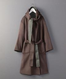 <6(ROKU)>HOOD REVER GOWN COAT/大衣