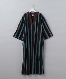 < 6(ROKU)>COTTON PILE STRIPE DRESS/洋裝: 日本製