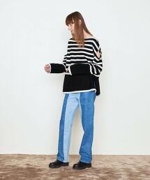 <AEWEN MATOPH>羊毛 開衩 落肩 針織毛衣
