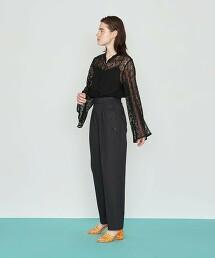<AEWEN MATOPH>蕾絲 開衩袖 長版襯衫 日本製