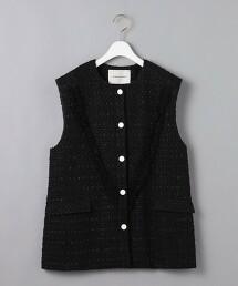 <AEWEN MATOPH>綾織流蘇邊無袖外套 日本製