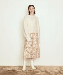 <AEWEN MATOPH>斑馬紋/緹花 中寬版窄裙 日本製